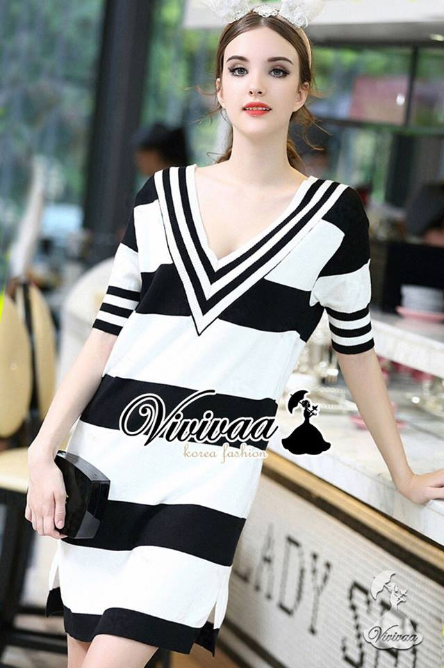 Stripy V collar nifty long dress
