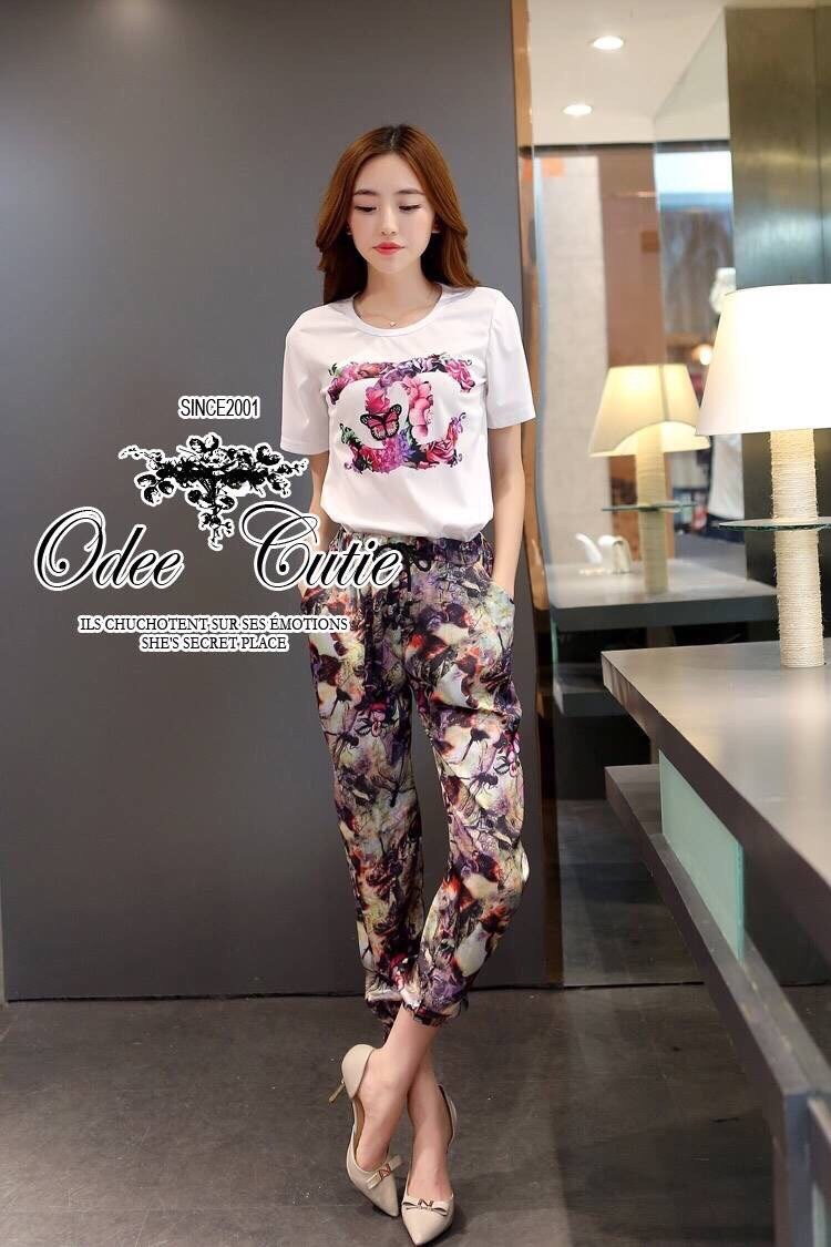 Chanel logo printed and chic trouser set