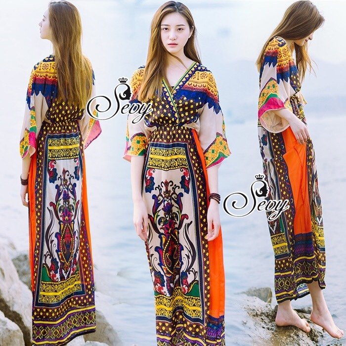 Traditional Thai Style Bohemian Chilaxing Maxi Dress