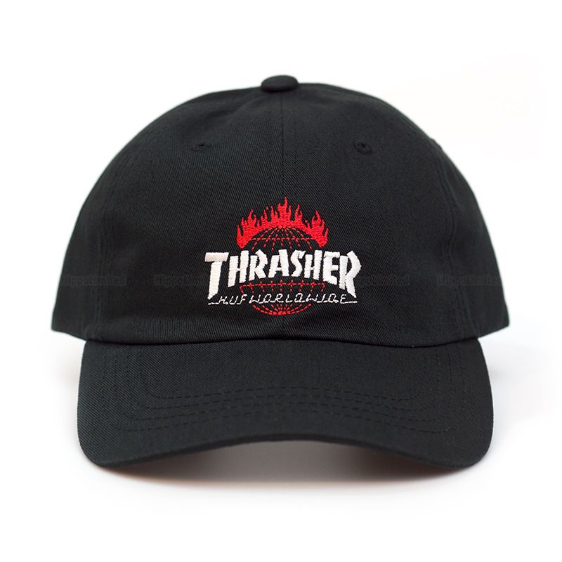 Thrasher x HUF TDS Black 6-Panel Hat - Black