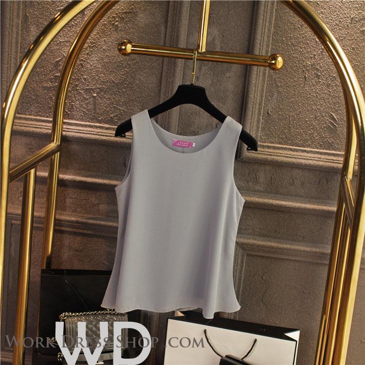 Pre-order เสื้อทำงาน สีเทา เสื้อคอกลมแขนกุด เนื้อผ้าซีฟองอย่างดีพร้อมซับใน ใส่ด้านในสูทก็สวยเก๋