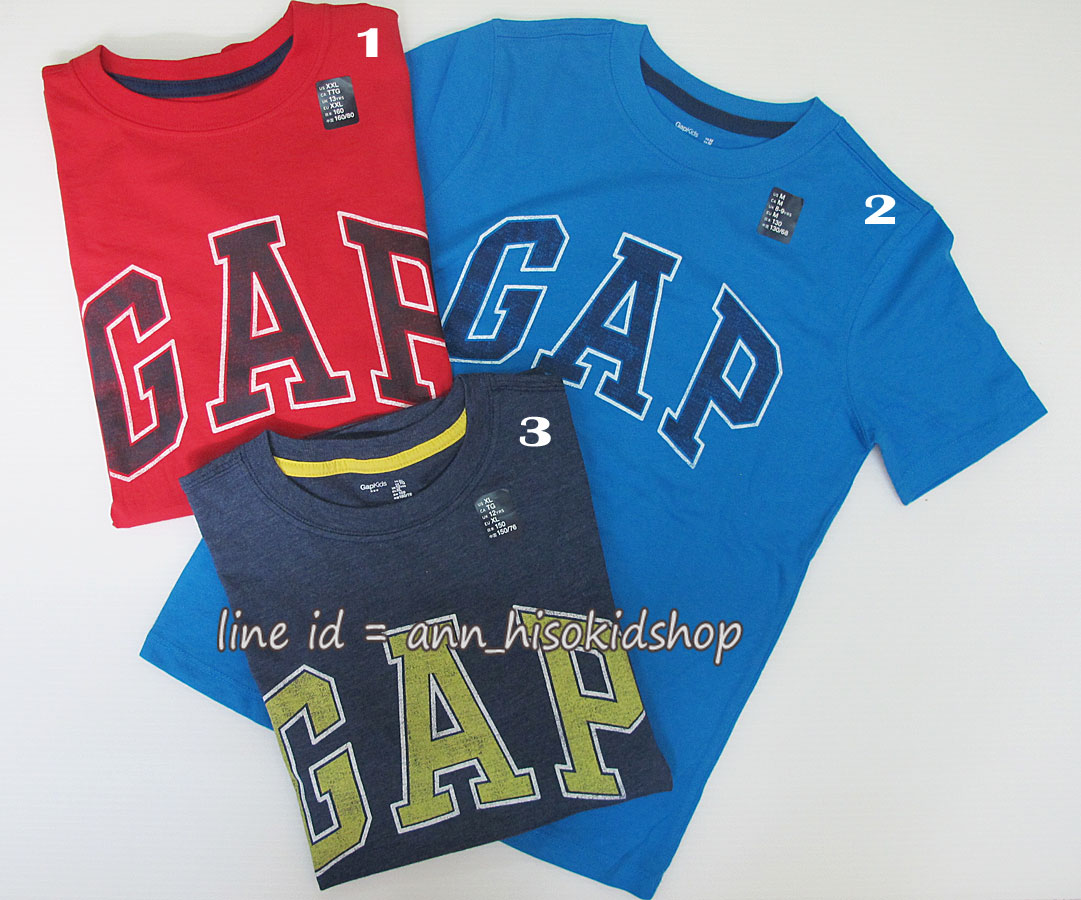 1883 Gap Kids Logo Short Sleeve Tee -Red/Blue/Navy Blue ขนาด 8-9,12,13XL ปี