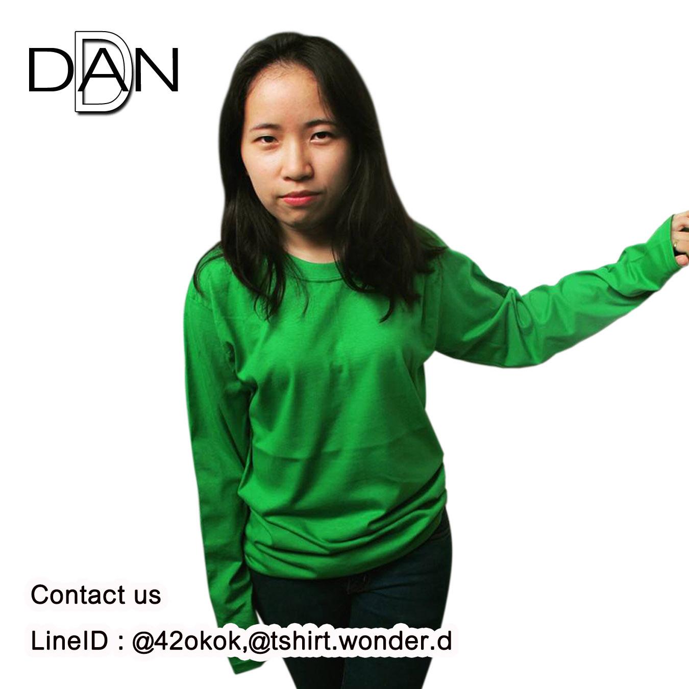 เสื้อยืดคอกลมแขนยาว สีเขียวไมโล