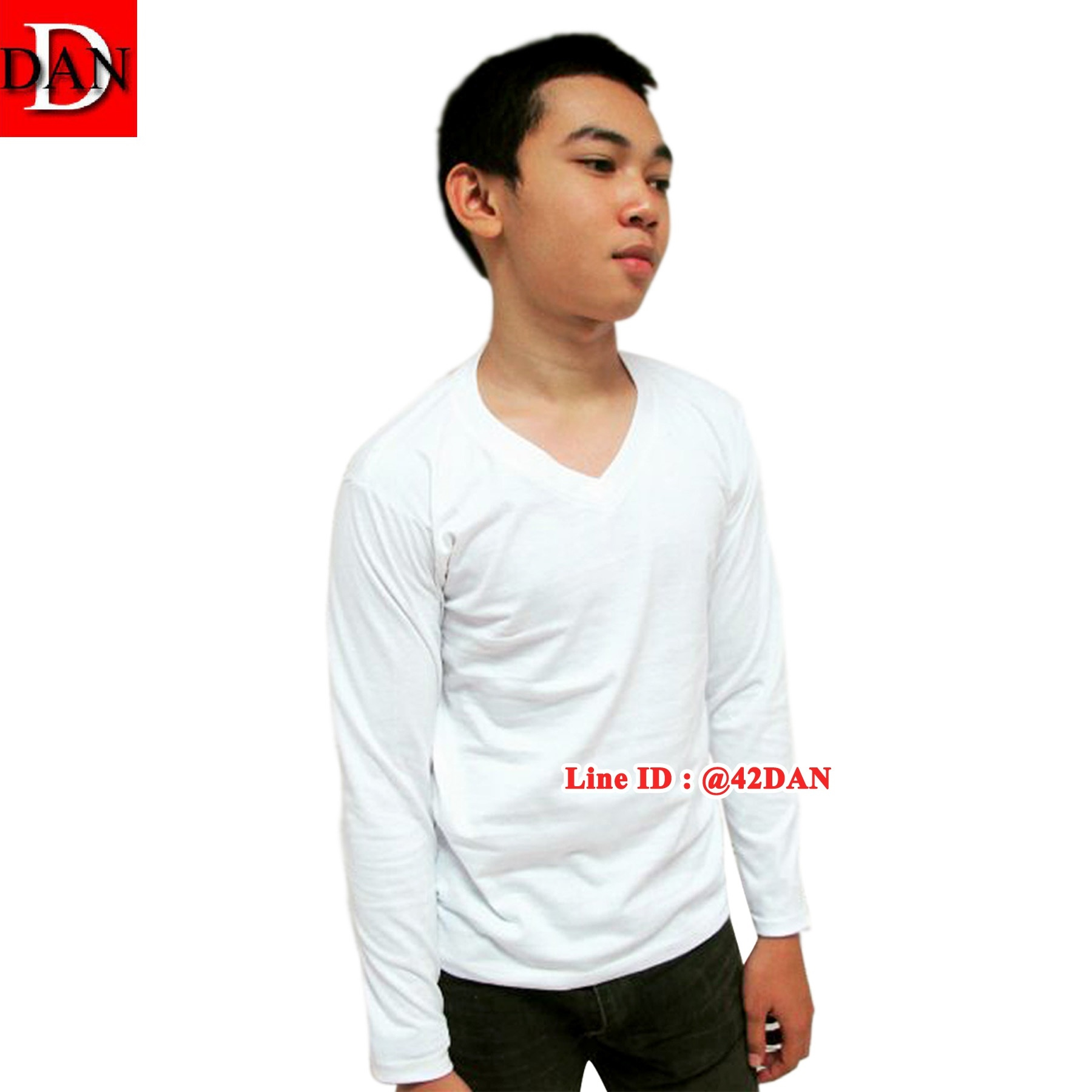 เสื้อยืดคอวีแขนยาว สีขาว