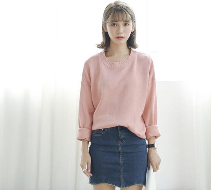 Sweater เสื้อสเวทเตอร์แขนยาว สีชมพู