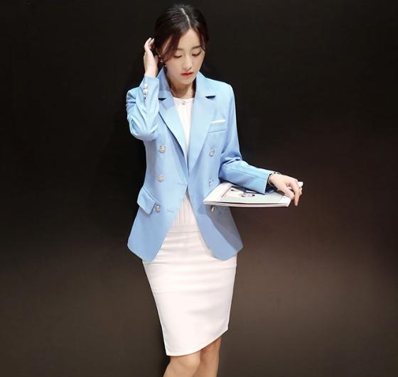 เสื้อคลุม เสื้อสูทใส่ทำงาน สีฟ้า