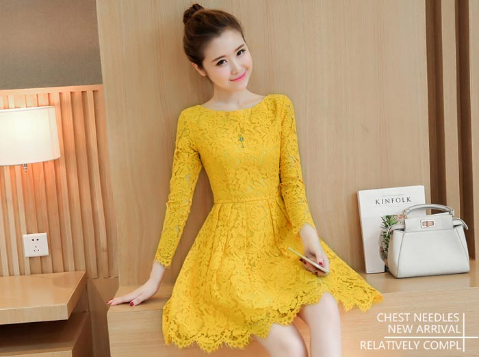 ชุดเดรสลูกไม้ ชุดผ้าลูกไม้สวยๆ น่ารักๆ แฟชั่นเกาหลี สีเหลือง เดรสลูกไม้ ส่งฟรี EMS แขนยาว ซิบหลัง มีซับใน ใส่สบายๆ