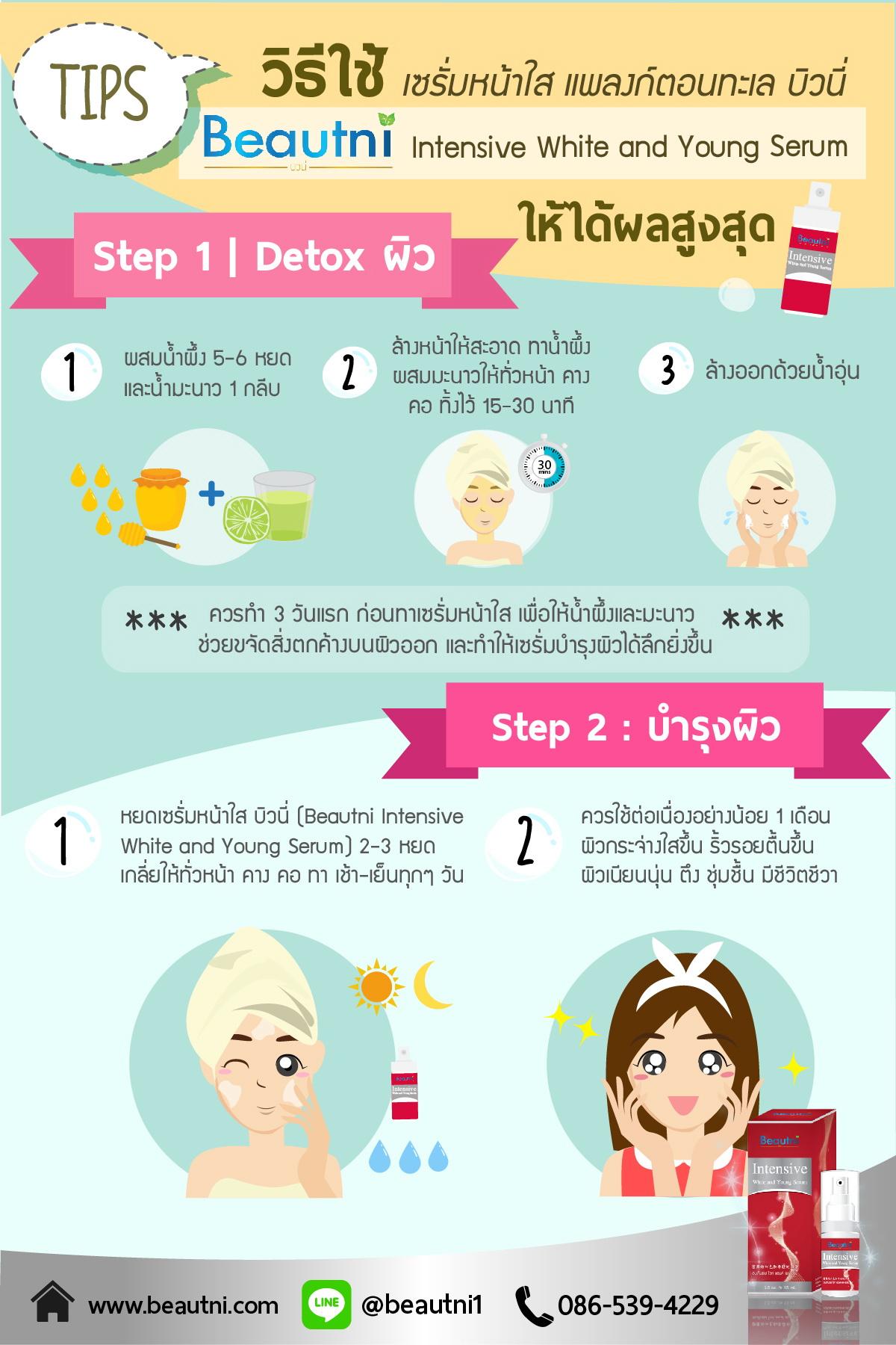 Tips เทคนิกการใช้ เซรั่มหน้าใส แพลงก์ตอนทะเล บิวนี่ ให้เกิดประโยชน์สูงสุด Intensive White and Young Serum 1. Detox ผิว ผสมน้ำผึ้ง 5-6 หยด+น้ำมะนาว 1กลีบ ล้างหน้าให้สะอาด ทาน้ำผึ้งผสมมะนาวให้ทั่วหน้า คางคอ ทิ้งไว้ 15-30 นาที ล้างออกด้วยน้ำอุ่น (ควรทำ 3 วันแรก ก่อนทาเซรั่มหน้าใส เพื่อให้น้ำผึ้งและมะนาวช่วยขจัดสิ่งตกค้างบนผิวออก และทำให้เซรั่มบำรุงผิวได้ลึกยิ่งขึ้น) 2. บำรุงผิว หยดเซรั่มหน้าใส บิวนี่ (Beautni Intensive White and Young Serum) 2-3หยด เกลี่ยให้ทั่วหน้า คาง คอ ทา เช้า-เย็นทุกๆวัน ควรใช้ต่อเนื่องอย่างน้อย 1 เดือน ผิวกระจ่างใสขึ้น ริ้วรอยตื้นขึ้น ผิวเนียนนุ่น ตึง ชุ่มชื้น มีชีวิตชีวา