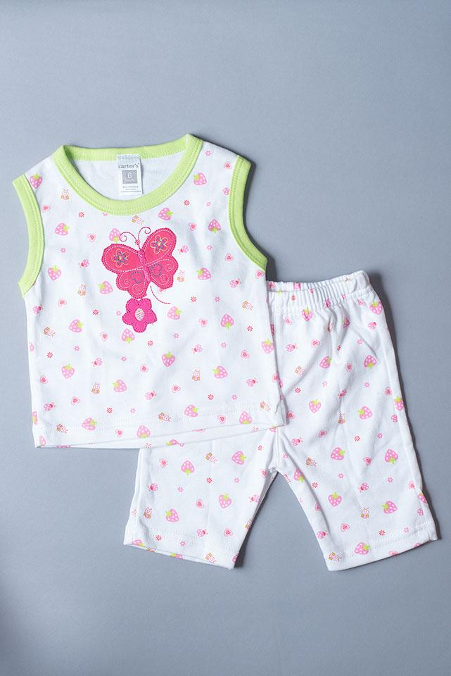 เสื้อแขนกุด กางเกงสามส่วน ลายผีเสื้อ สตอเบอรี่ ขนาด 3-6 เดือน
