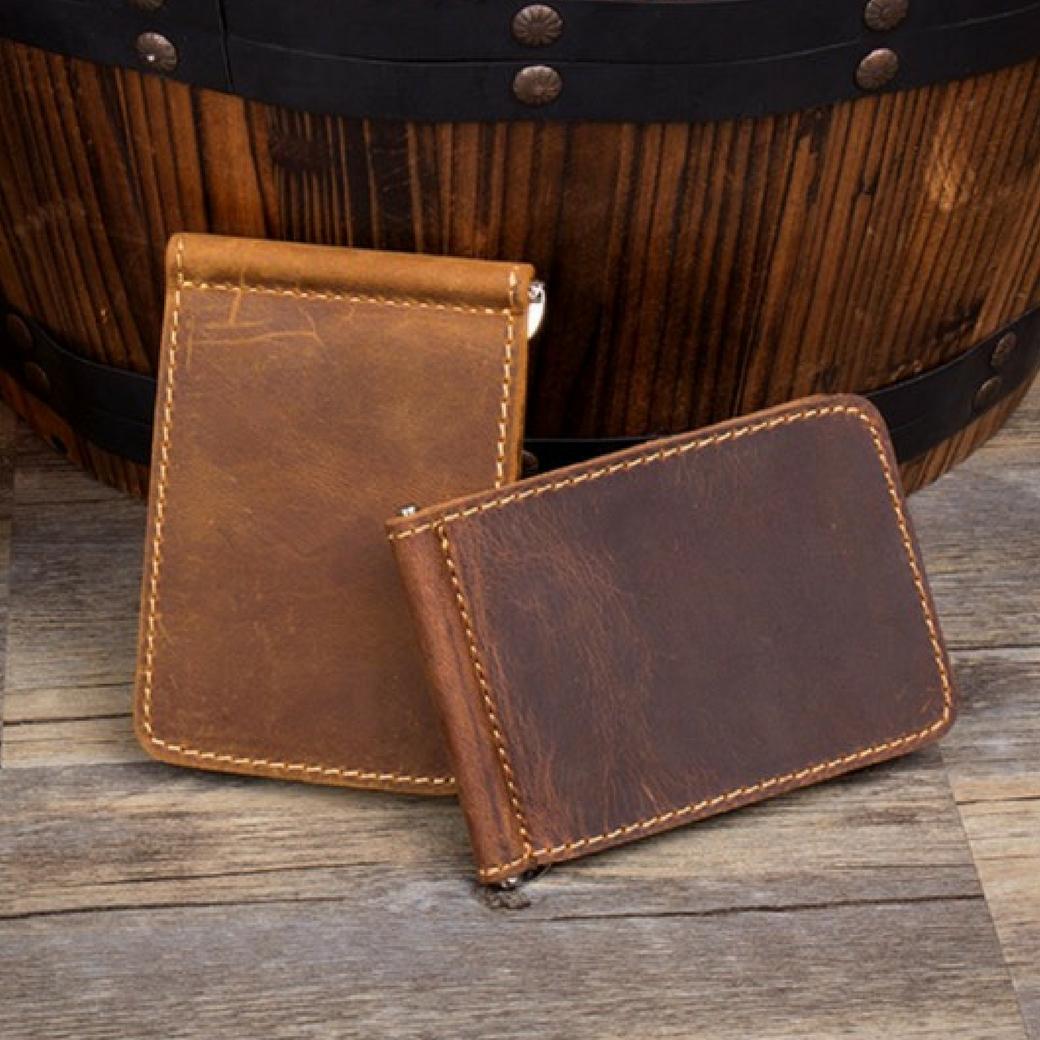 กระเป๋าสตางค์ กระเป๋าหนีบบัตร ( Money Clip ) หนังแท้ 100% โทนสีน้ำตาล