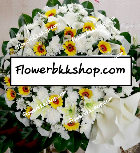 พวงหรีดดอกไม้สด รหัส WWR24