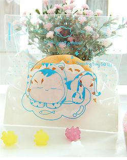 ถุงใส่คุ๊กกี้ ใส่ขนม ขนาด 10X10+3 CM 100 ถุง ลายการ์ตูนแมว ฟ้า BAKE085