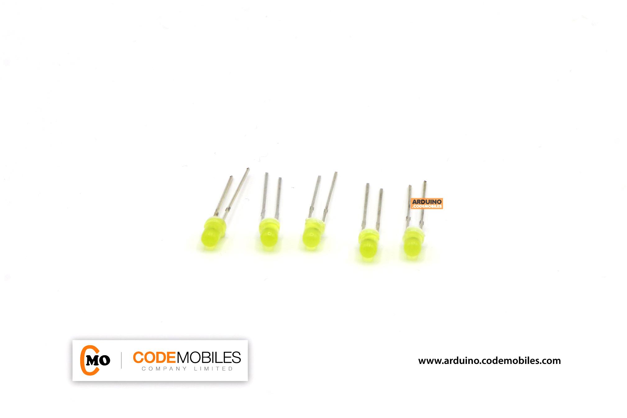 LED 3mm สีเหลือง จำนวน 5 ชิ้น