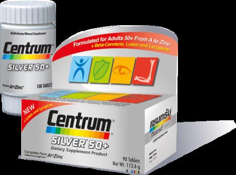 Centrum Silver 50+ Dietary Supplement Product Complete From A To Zinc 30 Tablets วิตามินและเกลือแร่รวม 23 ชนิดที่จำเป็นต่อร่างกาย พร้อมเบตาแคโรทีน ลูปีน และไลโคปีน สำหรับผู้ที่อายุ 50 ปีขึ้นไปโดยเฉพาะ