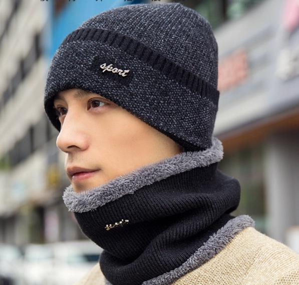 High quality winter wool hat หมวกไหมพรหมพร้อมผ้าพันคอ (สีดำ)