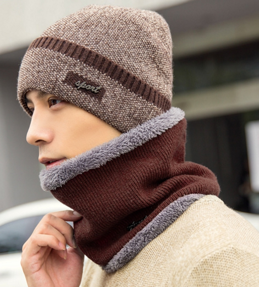 High quality winter wool hat หมวกไหมพรหมพร้อมผ้าพันคอ (สีน้ำตาล)