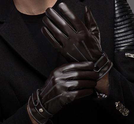 ถุงมือกันหนาวผู้ชาย หนัง PU คุณภาพดี (สีน้ำตาล)