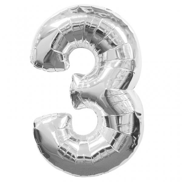 """ลูกโป่งฟอยล์รูปตัวเลข 3 สีเงิน ไซส์เล็ก 14 นิ้ว - Number 3 Shape Foil Balloon Size 14"""" Silver Color"""