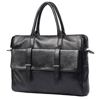 กระเป๋าถือหนังสะพายบ่า ผู้ชาย แต่งเข็มขัด2 สีดำ