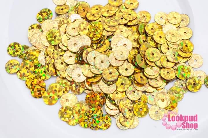 เลื่อมปัก กลม สีทองดิสโก้ 6มิล(5กรัม)