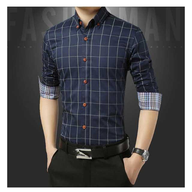 เสื้อเชิ้ตแขนยาวสีน้ำเงิน