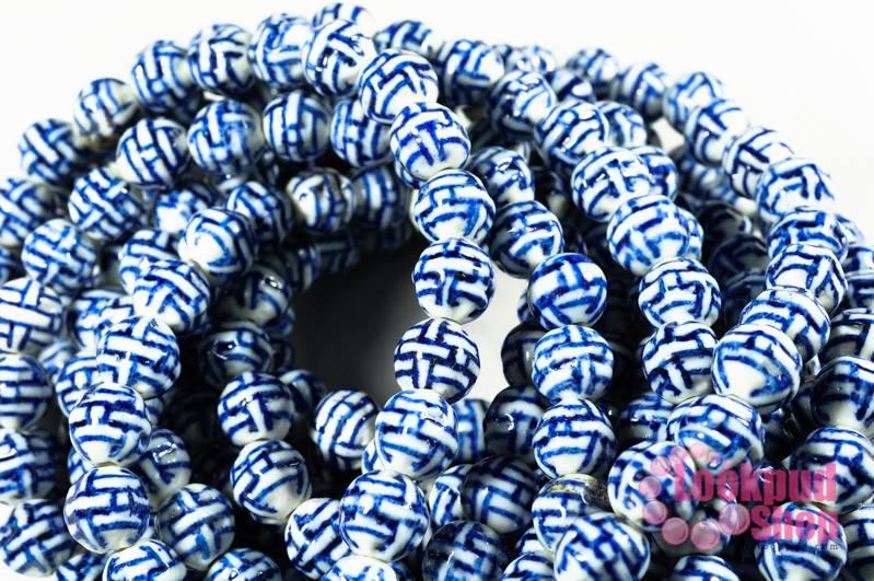 ลูกปัดเซรามิค ลาย สีน้ำเงิน 10 มิล
