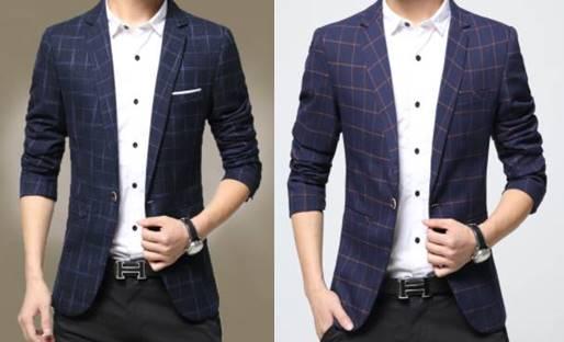 เล็ก+ใหญ่!!จองราคาพิเศษ!!เสื้อสูทแฟชั่นลายสก็อต สลิมฟิต ปกเปิด สีกรม ฟ้าเข้ม Size No.34 36 38 40 42 44 46
