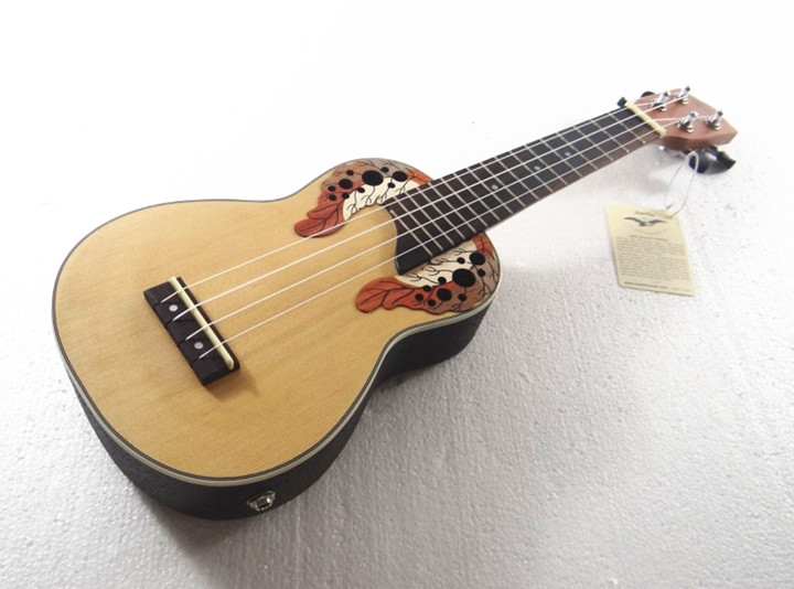 """อูคูเลเล่ อะคูสติก ไฟฟ้า ukulele electric Better รุ่น UK-E21 Ovation Soprano 21"""" หลังเต่า ไม้ Top Spuce สาย Aquila with EQ แถมกระเป๋า"""