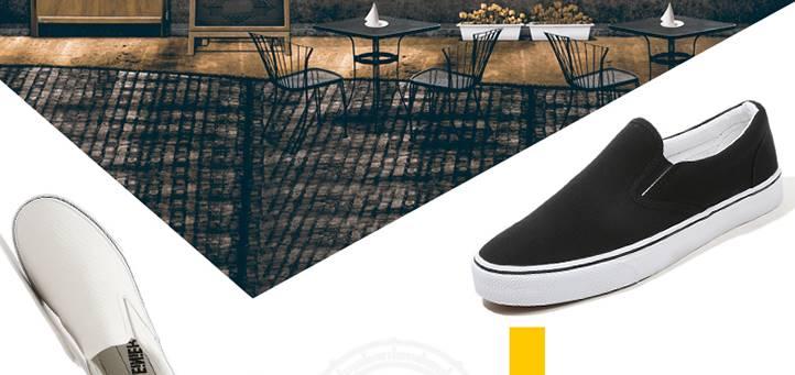 รองเท้ากังฟู ลำลองผ้าใบสวม พื้นขาว แบบเรียบเดินเส้น พื้นขาวสูง ผ้าใบสีดำ ผ้าใบสีขาว เบอร์ 39-44
