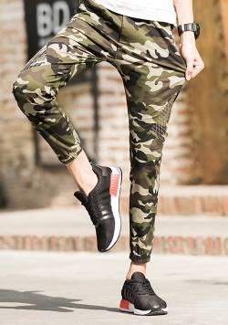 กางเกงขาจั๊มทหาร จ๊อกเกอร์พราง ผ้ายืดขาเล็ก สีเขียวพราง size 28 29 30 31 32 33 34 35 36 37 38