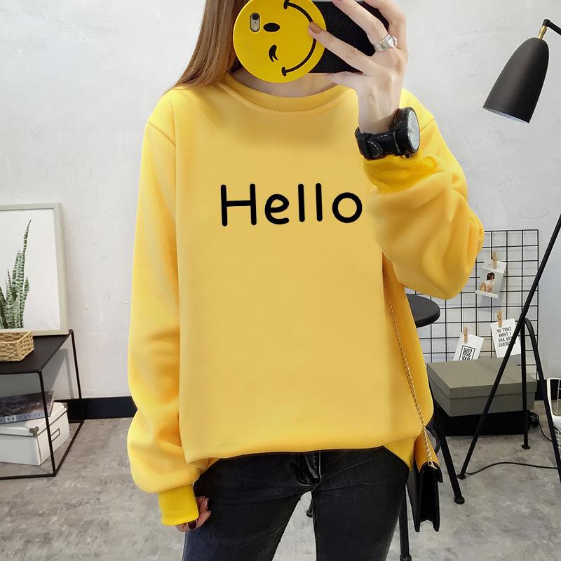 เสื้อแขนยาวแฟชั่นพร้อมส่ง เสื้อแขนยาวสีเหลือง แต่งสกรีนตัวอักษร Hello +พร้อมส่ง+