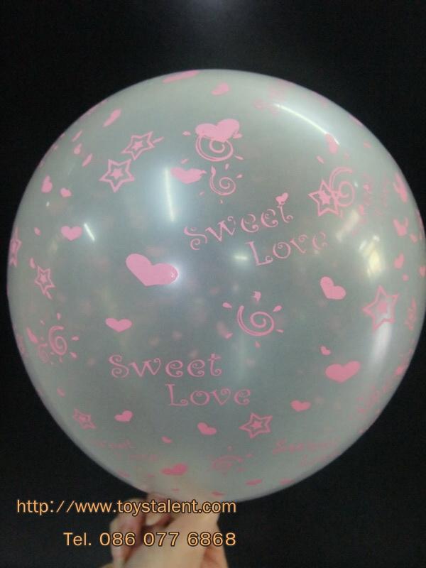 """ลูกโป่งกลมสีใส พิมพ์ลาย Sweet Love ไซส์ 12 นิ้ว แพ็คละ 10 ใบ (Round Balloons 12"""" - Printing Sweet Love Clear latex balloons)"""