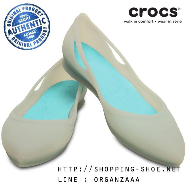 W7 (24.5 cm.) : Crocs Rio Flat - Platinum / Pool ของแท้ Outlet ไทยและอเมริกา