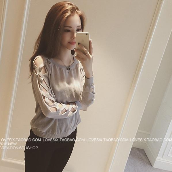 เสื้อแขนยาวแฟชั่นเกาหลี คอกลม แต่งช่วงแขนแบบสานสวยเก๋ สีเทา