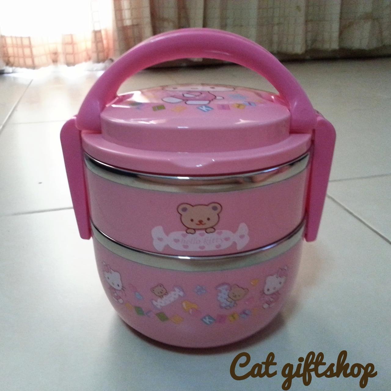 พร้อมส่ง :: ปิ่นโต Hello Kitty 2 ชั้น สีชมพู