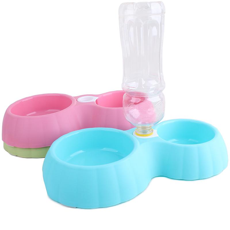 ชามสุนัข2ช่องใส่ขวดน้ำได้ไซด์M สีฟ้า สีชมพู