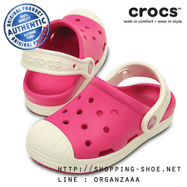 J3 (22.5 cm.) : Crocs Bump It Clog - Candy Pink / Oyster ของแท้ Outlet ไทยและอเมริกา