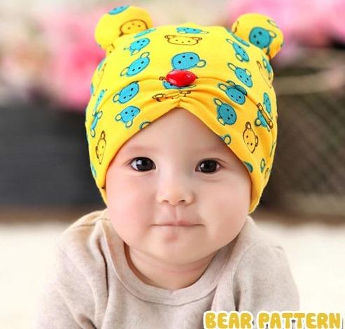 หมวกหมีน้อย สีเหลือง ชมพู แดง ฟ้า MC24