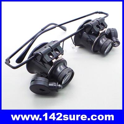 GLS003: แว่นตาขยาย แว่นตาซ่อมนาฬิกา แว่นขยายชิ้นงาน 2เลนส์ 20X Magnifier Magnifying Eye Glasses Loupe Lens Jeweler Watch Repair LED Light