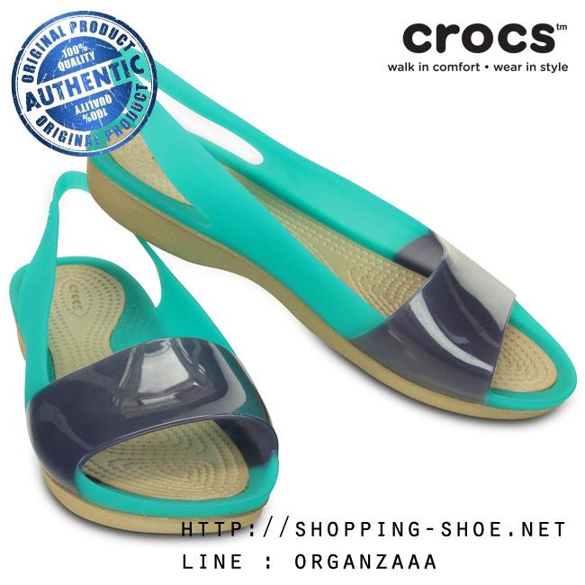 W6 (23.5 cm.) : Crocs ColorBlock Flat - Tropical Teal / Nautical Navy ของแท้ Outlet ไทยและอเมริกา