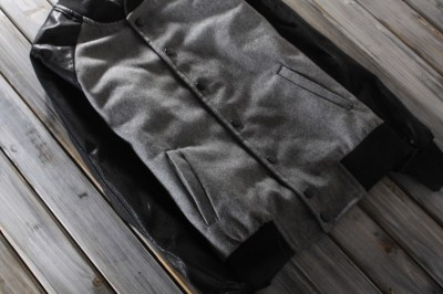 เสื้อแจ็คเก็ต เสื้อคลุมเบสบอล แขนหนัง สลิมฟิต สีเทาอ่อน No.36 38