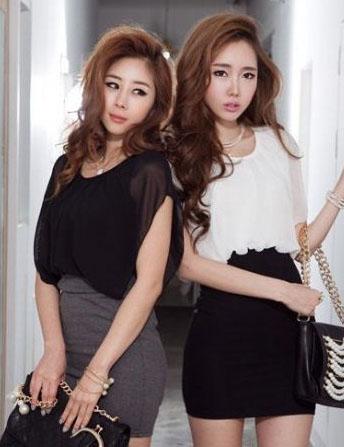 SALE//SALE (ส่งฟรี) 91PF ชุดเดรส ชุดทำงาน สไตล์เกาหลี คุณภาพดี ตัวเสื้อสีดำ ตัดแต่งด้วยผ้าซีฟอง ตัวกระโปรงสีเทา เนื้อผ้ายืดหยุ่นดี เข้ารูป เซ็กซี่สุดๆ