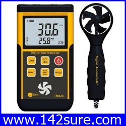 DWS008: เครื่องวัดลม วัดความเร็วลม ใบพัดแยก 0.3~45m/s Split digital anemometer TM826 professional wind wheel air thermometer anemometer ยี่ห้อ TECMAN รุ่น TM826