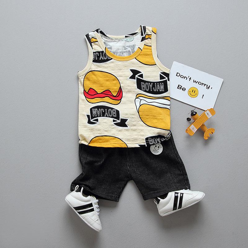 ชุดเซตเสื้อกล้ามสีครีมลายเบอร์เกอร์+กางเกงสีดำ แพ็ค 4 ชุด [size 6m-1y-2y-3y]
