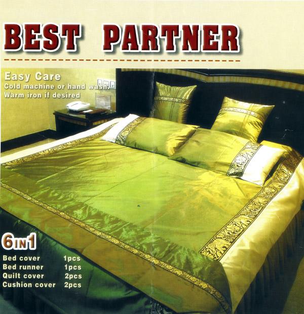ชุดผ้าคลุมเตียงผ้าไหม ขนาดเตียง 6 ฟุต