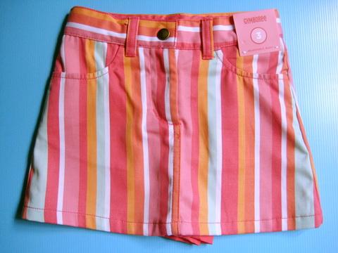 BRG090 Gymboree กระโปรงมินิสเกิร์ตสาวน้อยลายริ้วสีสันสดใส มีซับในเป็นกางเกงในตัว เหลือ Size 5 / 6 ขวบ
