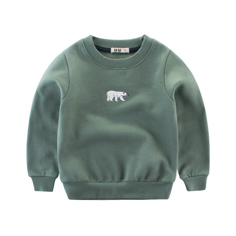 เสื้อกันหนาวสีเขียวปักหมีขาวที่หน้าอก [size 2y-3y-5y-6y-7y]