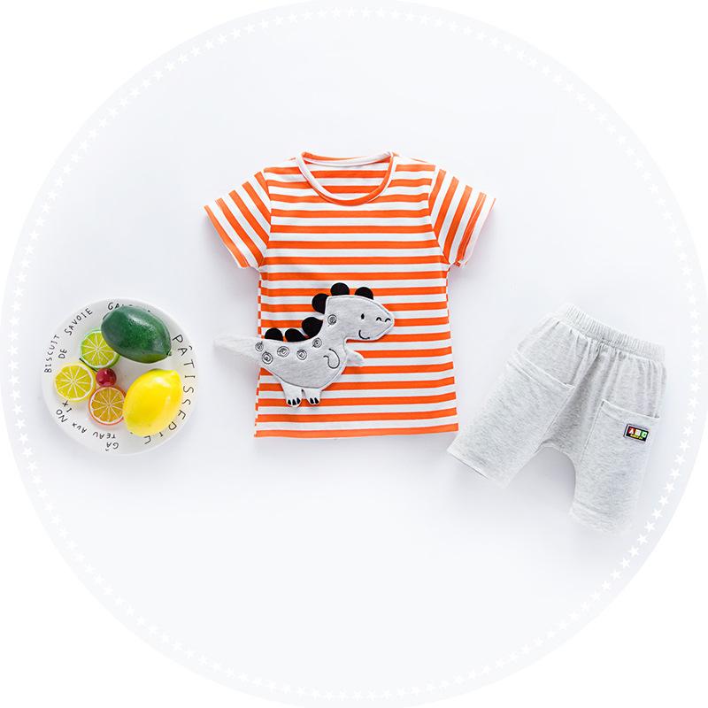 ชุดเซตเสื้อลายขวางสีส้มลายไดโนเสาร์+กางเกงสีเทา แพ็ค 4 ชุด [size 6m-1y-2y-3y]