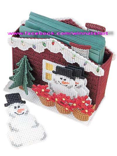 ชุดปักแผ่นเฟรมที่ใส่กระดาษโน้ตลายตุ๊กตาหิมะ