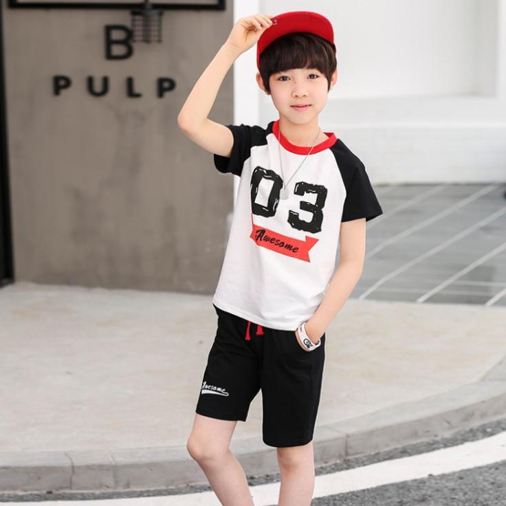 เสื้อ+กางเกง สีดำ แพ็ค 5 ชุด ไซส์ 90-100-110-120-130 (เลือกไซส์ได้)